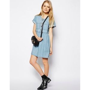 ASOS Button-Through Denim Smock Dress NWT 4
